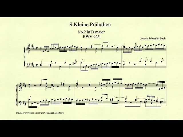Bach, Prelude in D major, BWV 925, Piano