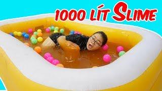 1000 LÍT SLIME LỎNG | TẮM HỒ BƠI SLIME KHỔNG LỒ