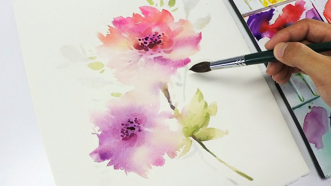 Lvl3 watercolor flower painting wet into wet youtube for How to use watercolors for beginners