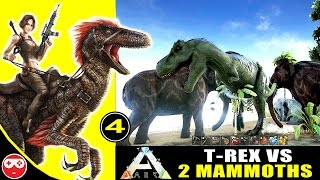 ARK Survival Evolved Gameplay #4 : T-Rex Vs 2 Mammoths - Who Will Win The Fight ?
