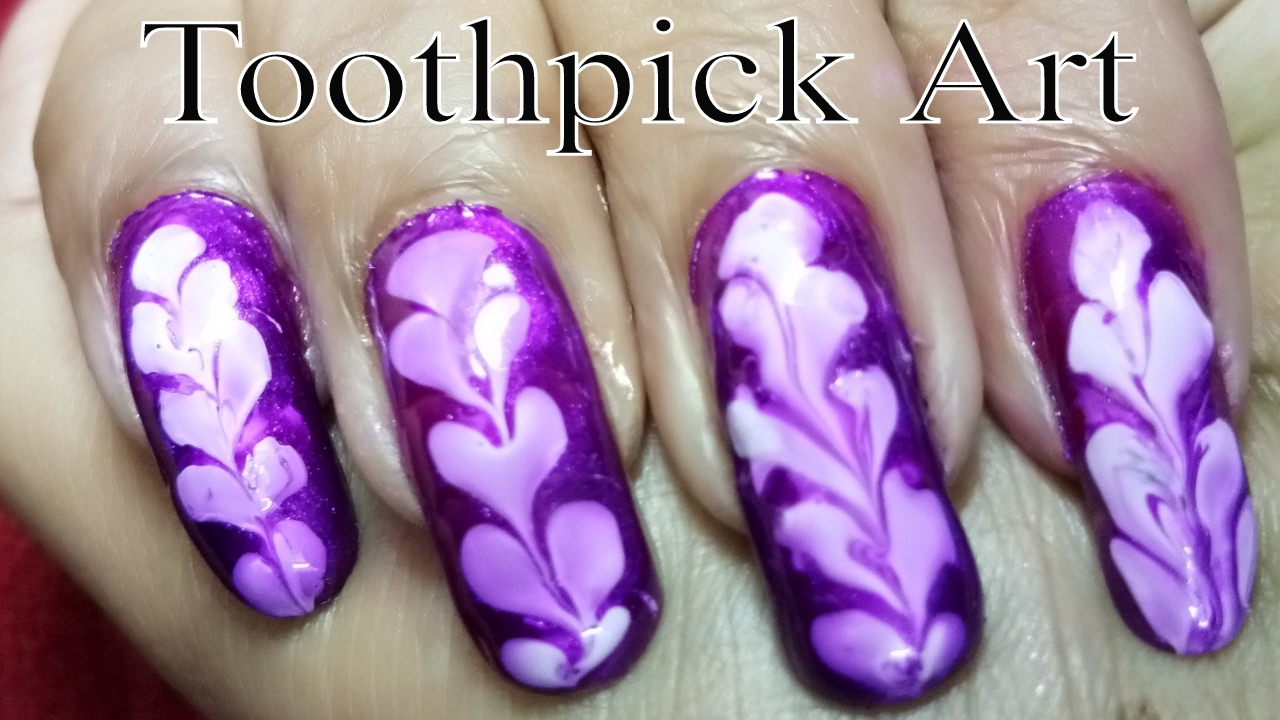Beautiful Nail Polish Art using Toothpick at Home - YouTube