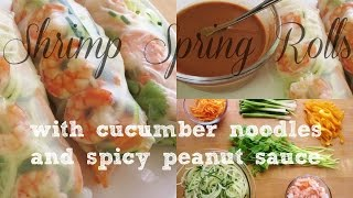 Shrimp & Cucumber Noodles Spring Roll - With A Spicy Peanut Dipping Sauce