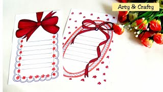 Ribbon Draw | Beautiful Border Design on Paper | Front Page Design for Project by Arty & Crafty