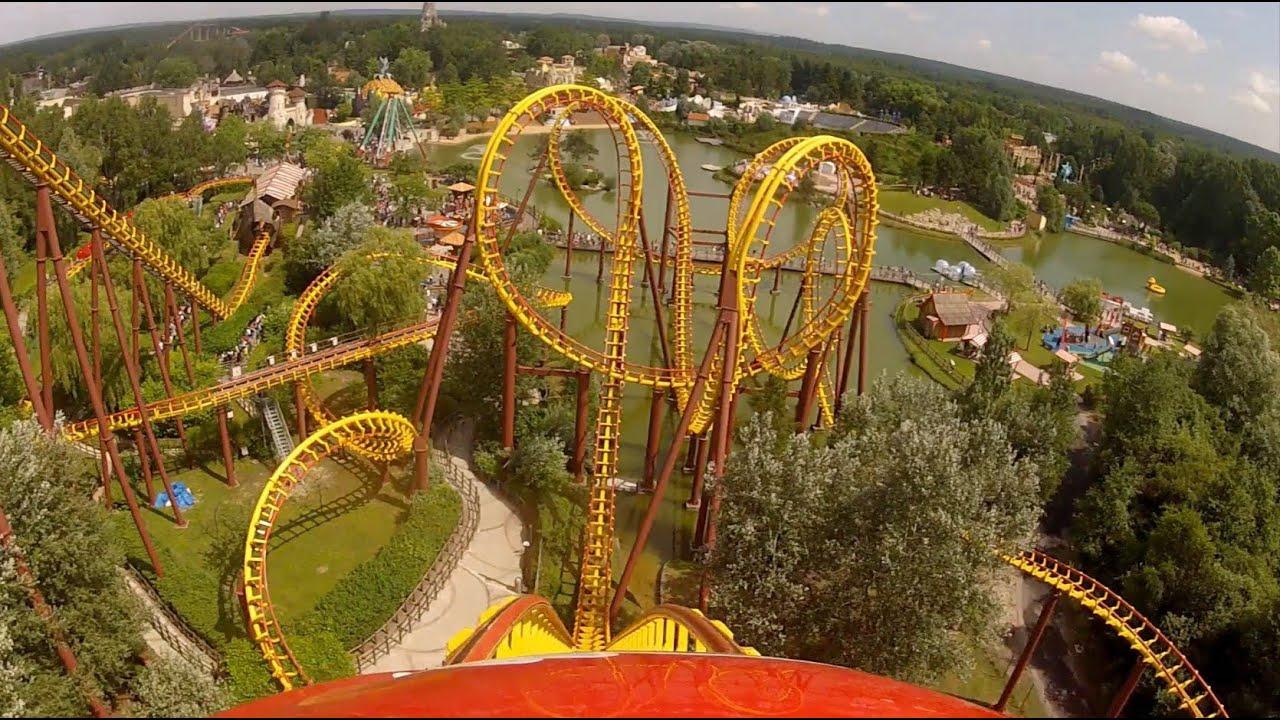 Goudurix roller coaster pov parc asterix paris france for Amusement parks in paris