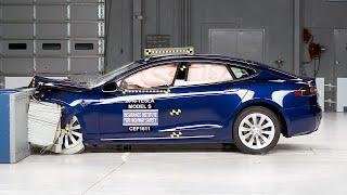 2016 Tesla Model S moderate overlap IIHS crash test