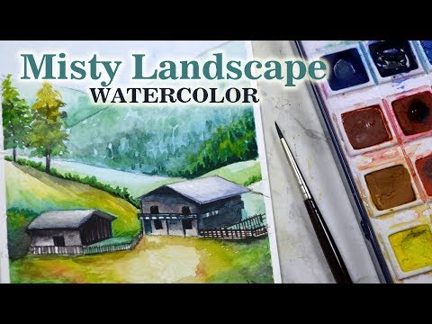 Beautiful MISTY MORNING 🏞️LANDSCAPE Watercolor Painting with Camlin Artist Watercolor Cakes