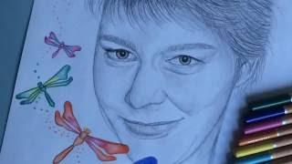 Drawing a portrait & colourful dragonflies | PhoebesArt