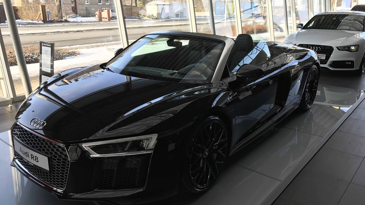 black audi r8 v10. audi r8 spyder v10 52 fsi new model 2017 black colour walkaround and interior youtube black audi e