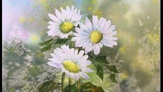 Как рисовать Ромашки и фон для цветов. Легко How to paint background .Daisies