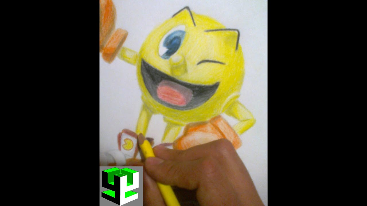 como dibujar a pacman / how to draw pacman - Y4 ART - YouTube