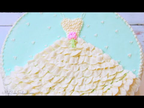 Wedding Shower Cake Design with Buttercream Dress! - YouTube