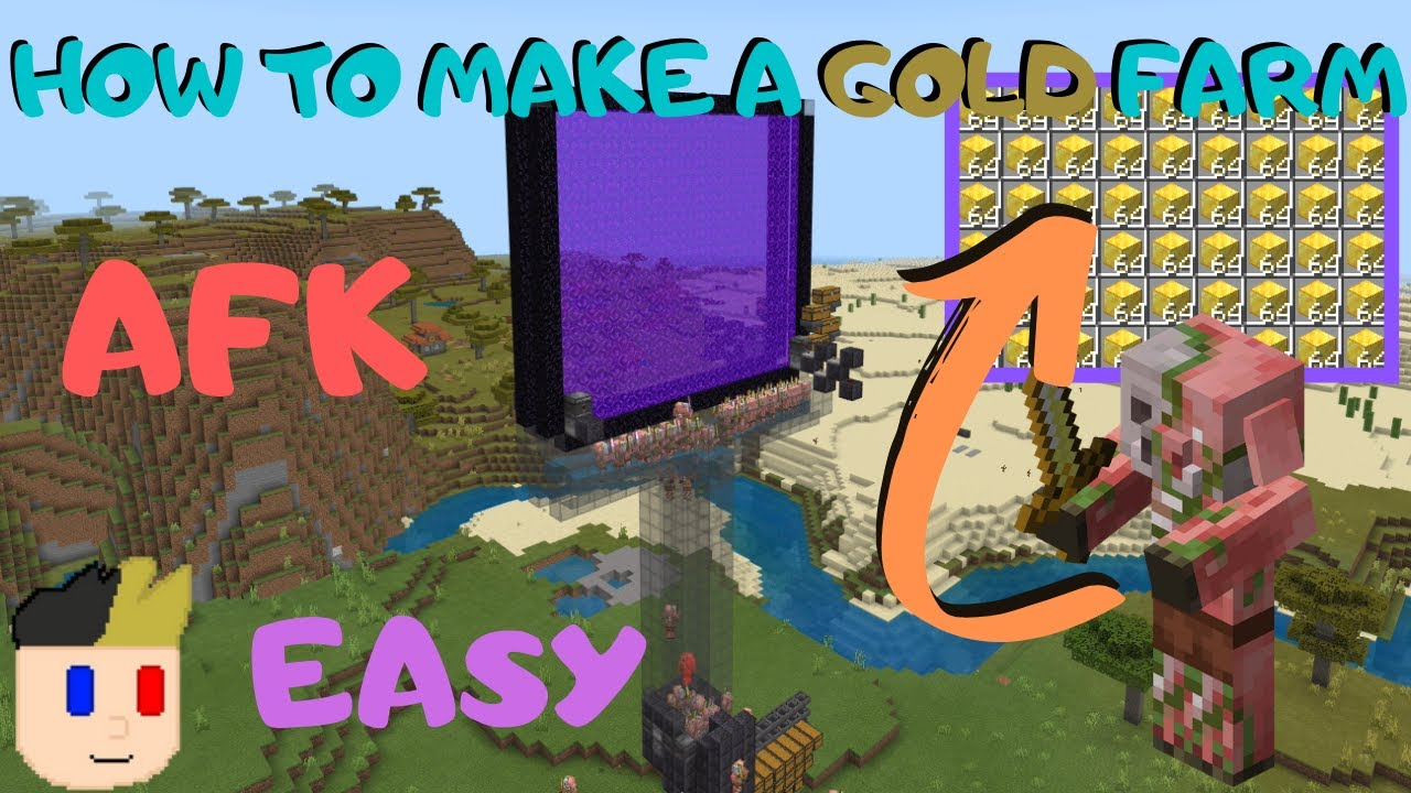 How To Make A Gold Farm In Minecraft Bedrock 1 16 Super Easy Youtube