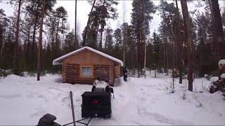 Зимний лесWinter ForestПоездка на снегоходах на избуУха на костре