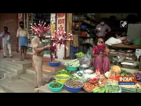 Chennai Police Inspector takes form of 'corona-man' to spread awareness