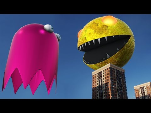 Giant Pacman Vs Big Ghost In Real Life