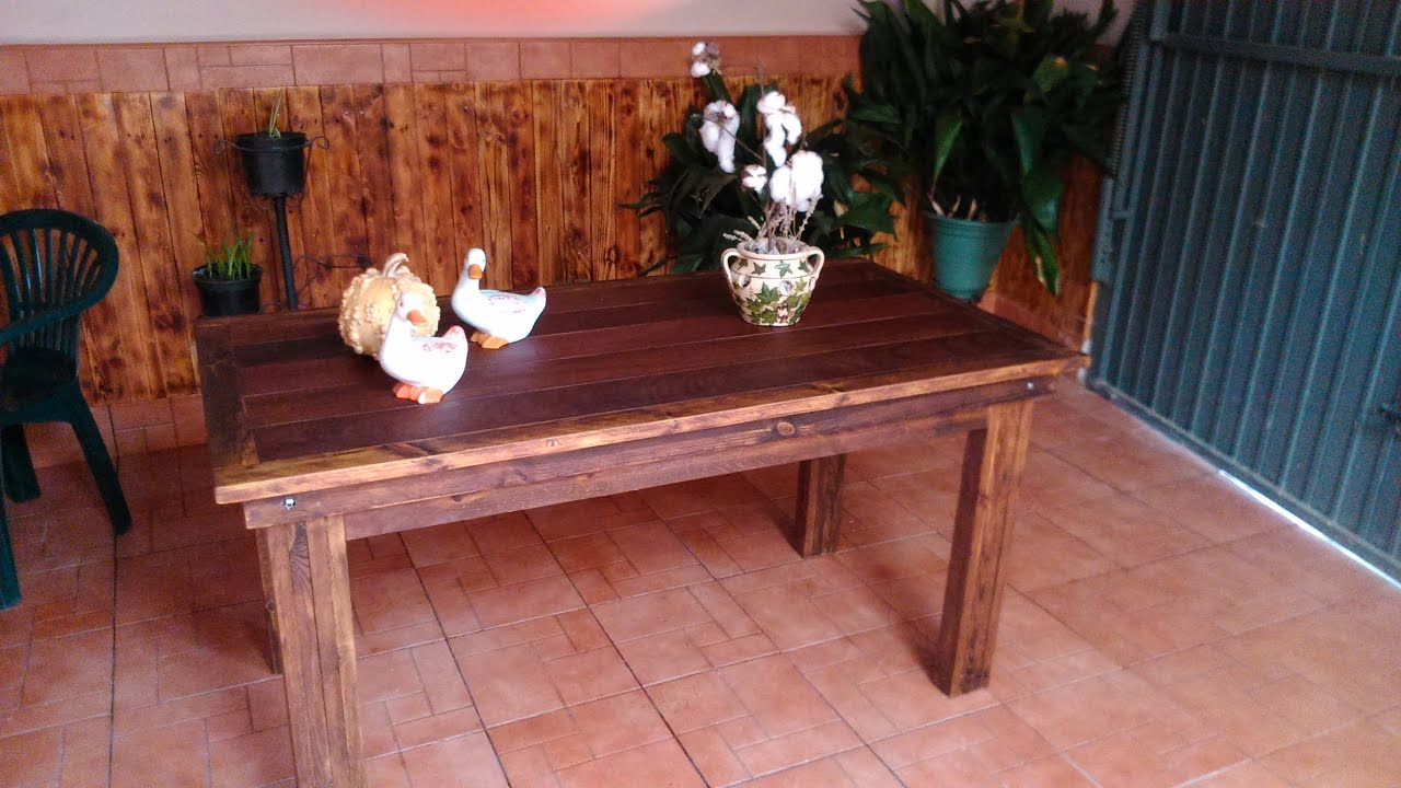 Como hacer una mesa de madera wooden table youtube for Como hacer una mesa extensible