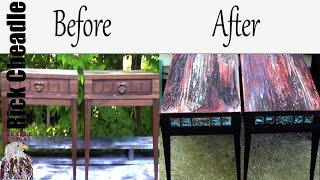 147. Recycled Vintage Tables. Fluid Painting Techniques. Paint Pour, Swiping. Embellishments