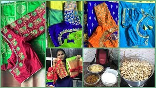 #DIML#My New Maggam work Blouses& Pattu Sarees Collection/Brinjal Curry/Boiled peanuts for Kids