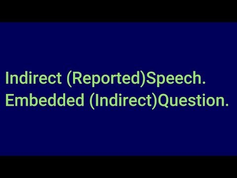 Indirect (Reported) Speech. Embedded (Indirect) Questions.Test izahı.