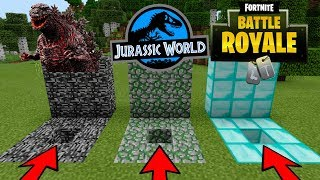 DO NOT CHOOSE THE WRONG HOLE in Minecraft PE (Jurassic World, Fortnite Battle Royale, Godzilla)
