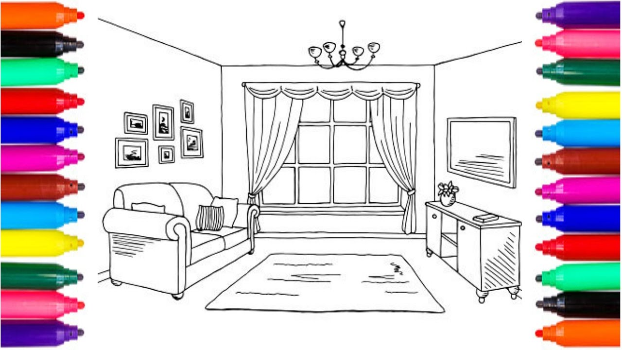 Interior Living Room Drawing coloring pages living room drawing to color for kids babies