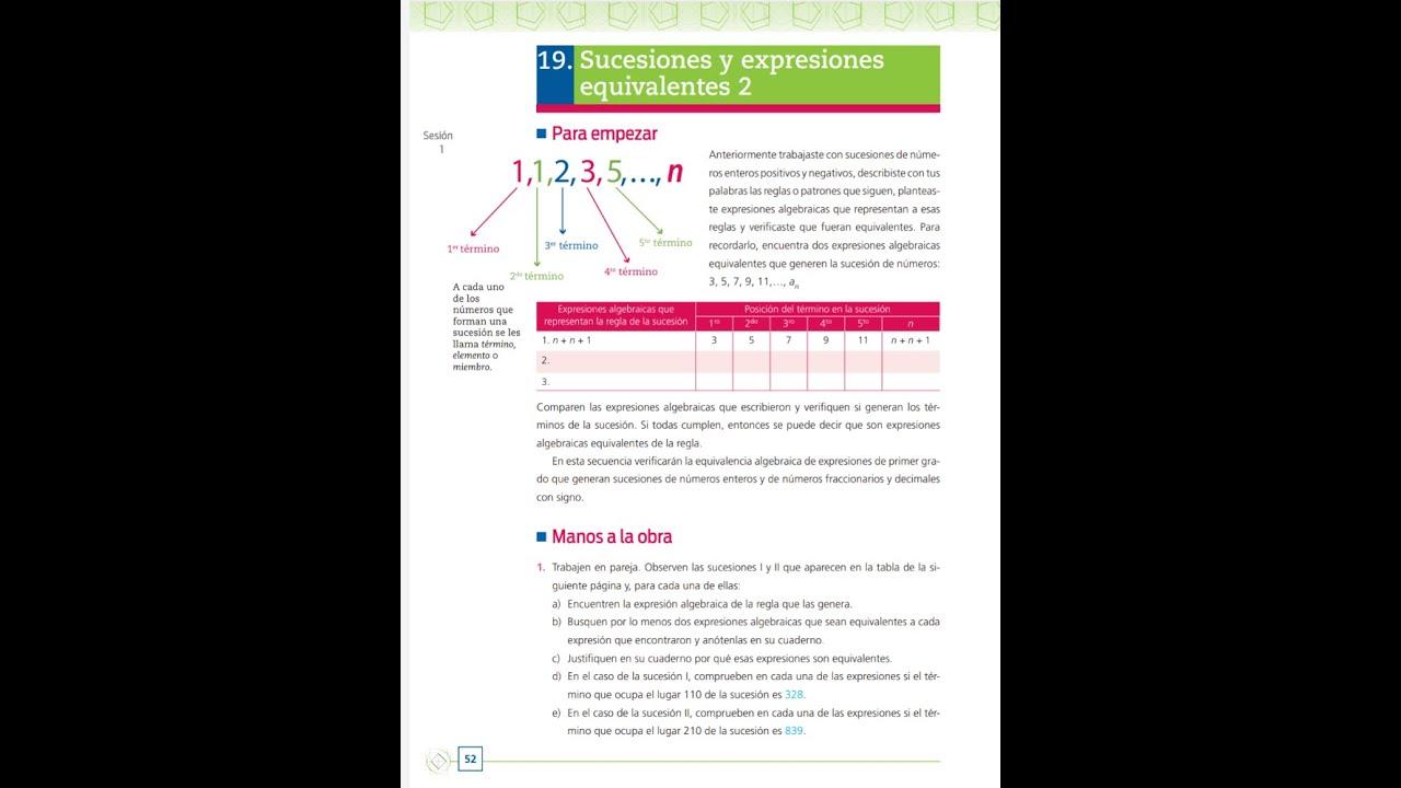 2° Telesecundaria 19Sucesiones y expresiones equivalentes 2. Páginas 56 y 57