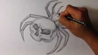 How to Draw a Skull Spider Tattoo - Skull Drawings