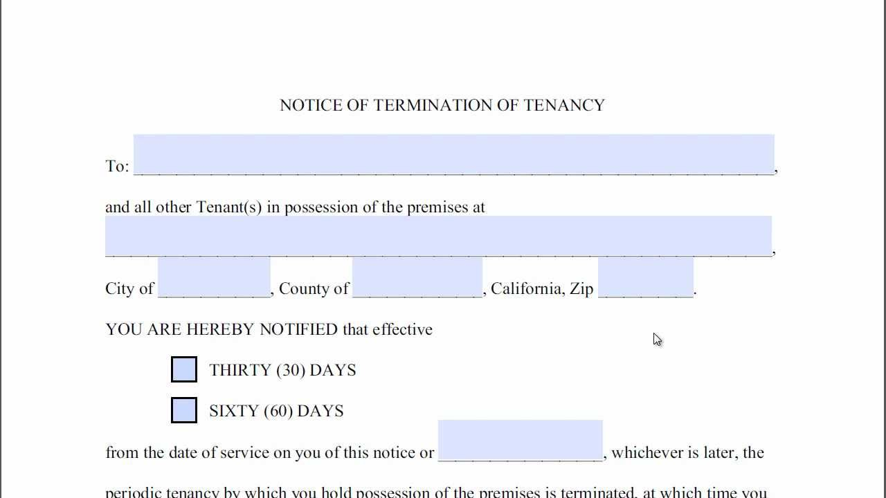 30 day notice to vacate california template