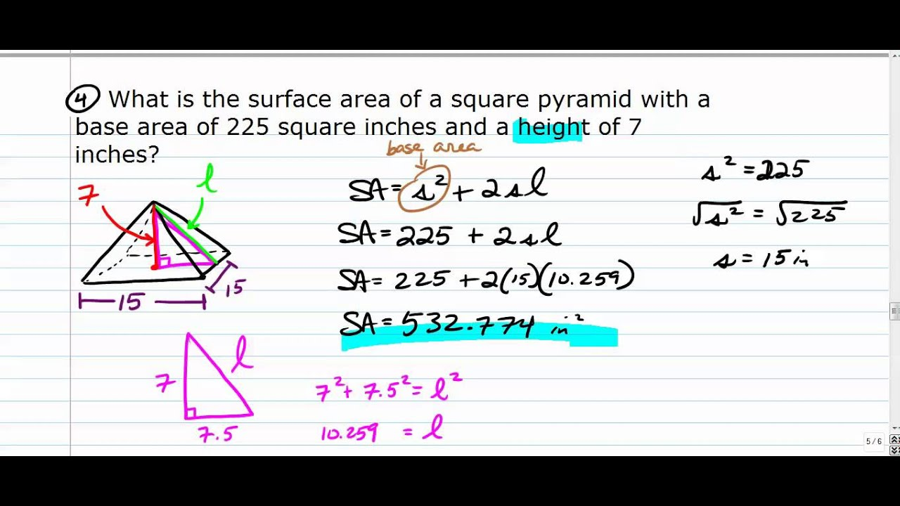 worksheet Surface Area Of A Pyramid surface area of square based pyramids youtube pyramids