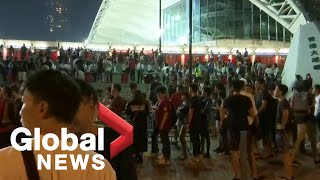 Hong Kong soccer fans march in support of pro-democracy protesters