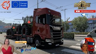 Euro Truck Simulator 2 (1.40 Beta)   Scania S Next Gen With FVG Tandem Agraliner Trailer by adver First Look Delivery to Salzsburg Austria Animated gates in companies v3.7 [Schumi] Real Company Logo v1.0 [Schumi] Company addon v1.9 [Schumi] Trailers and Cargo Pack by Jazzycat Motorcycle Traffic Pack by Jazzycat FMOD ON and Open Windows Naturalux Graphics and Weather Spring Graphics/Weather v3.6 (1.38) by Grimes Test Gameplay ITA Europe Reskin v1.0 + DLC's & Mods  For Donation and Support my Channel https://paypal.me/isabellavanelli?loc??...  SCS Software News Iberian Peninsula Spain and Portugal Map DLC Planner...2020 https://www.youtube.com/watch?v=NtKeP??... Euro Truck Simulator 2 Iveco S-Way 2020 https://www.youtube.com/watch?v=980Xd??... Euro Truck Simulator 2 MAN TGX 2020 v0.5 by HBB Store https://www.youtube.com/watch?v=HTd79??...  All my mods I use in the video Promods map v2.51 https://www.promods.net/setup.php?? Traffic mods by Jazzycat https://sharemods.com/hh8z6h9ym82b/pa??... https://sharemods.com/lpqs4mjuw3h6/ai??... https://ets2.lt/en/painted-bdf-traffi??... https://sharemods.com/eehcavh87tz9/bu??... Graphics mods https://download.nlmod.net/?? https://grimesmods.wordpress.com/2017??... Europe Reskin https://forum.scssoft.com/viewtopic.p??... Trailers pack https://ets2.lt/en/trailers-and-cargo??... https://tzexpress.cz/?? Others mods Company addon v1.8 [Schumi] https://forum.scssoft.com/viewtopic.p??... Real Company Logo v1.3 [Schumi] https://forum.scssoft.com/viewtopic.p??... Animated gates in companies v3.8 [Schumi https://forum.scssoft.com/viewtopic.p??...  #TruckAtHome?? #covid19italia?? Euro Truck Simulator 2    Road to the Black Sea (DLC)    Beyond the Baltic Sea (DLC)   Vive la France (DLC)    Scandinavia (DLC)    Bella Italia (DLC)   Special Transport (DLC)   Cargo Bundle (DLC)   Vive la France (DLC)    Bella Italia (DLC)    Baltic Sea (DLC) Iberia (DLC)   American Truck Simulator New Mexico (DLC) Oregon (DLC) Washington (DLC) Utah (DLC) Idaho (