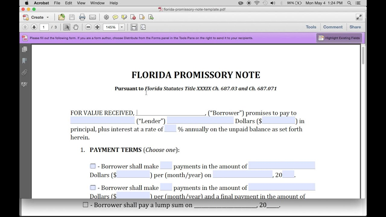 How To Write A Florida Promissory Note Pdf Word Youtube