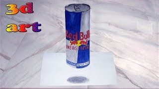 How to Draw a 3D Red Bull Can - Trick Art on Paper |Levitating Red Bull Can | 3D trick art for kids|