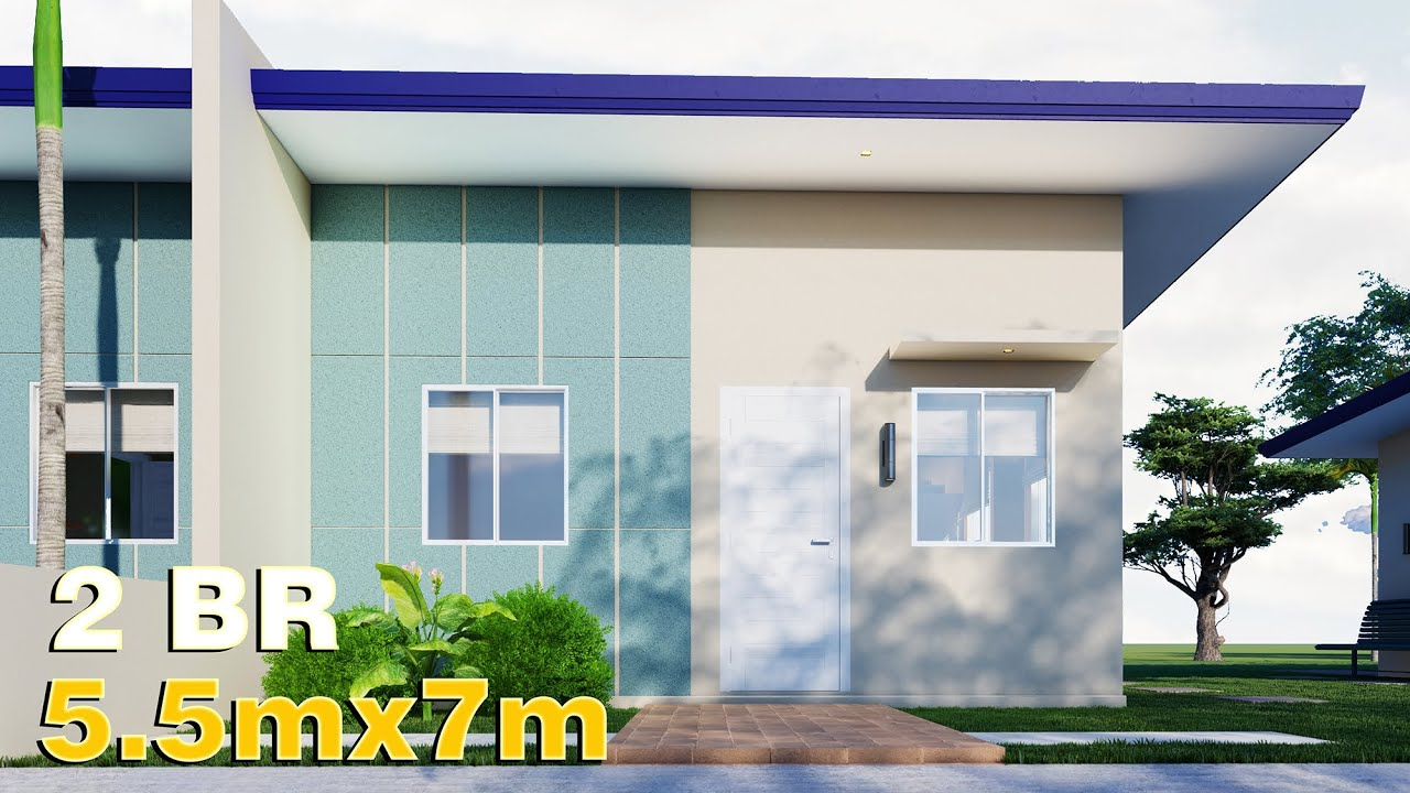 Small House Design 5.5x7 (38.5 SQM) 2 Bedroom for 1 Million