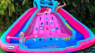 Stacy pede ao pai para comprar um trampolim inflável