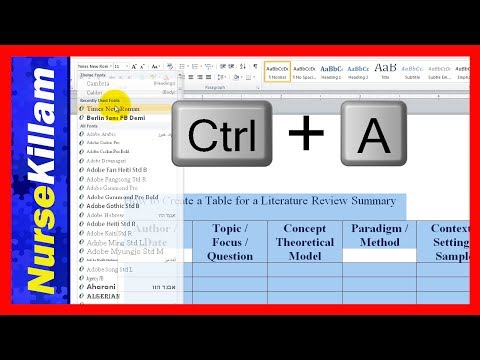 How to Create a Table for a Literature Review Summary