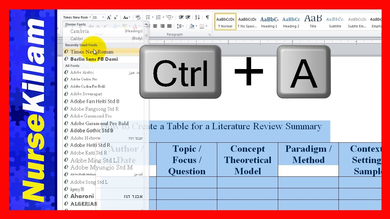 How to Create a Table for a Literature Review Summary - YouTube