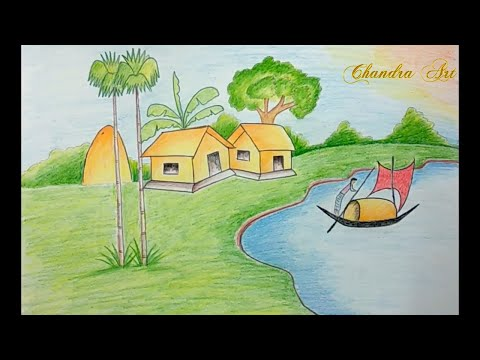 landscape drawing colored – easy landscape drawings in color pencil