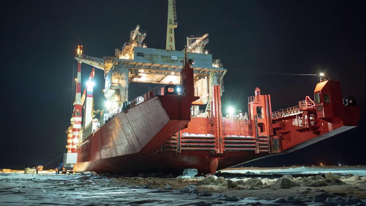 Атомный лихтеровоз Росатом завершил разгрузку на Салмановском месторождении Арктик СПГ-2
