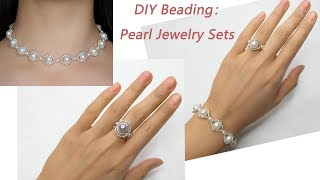 How to Make Pearl Beaded Jewelry Set: DIY Pearl Bracelet, Pearl Choker and Pearl Beaded Ring