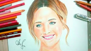 Drawing Jennifer Lawrence - Drawing Jennifer - How to draw Jennifer Lawrence - celebportrait#14