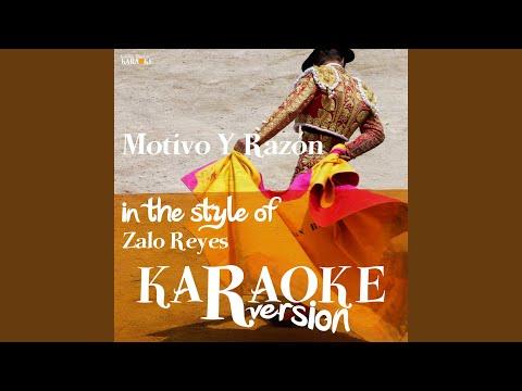 Motivo Y Razón (In The Style Of Zalo Reyes) (Karaoke Version)
