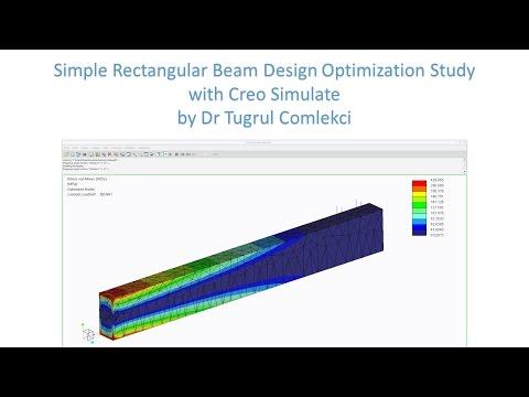 Creo Simulate design optimization study of a rectangular beam