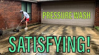 Pressure washing driveway - Satisfying!