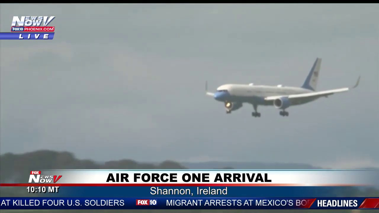 Download PRESIDENT TRUMP ARRIVES IN SHANNON, IRELAND FULL AIR FORCE ONE LANDING & HELICOPTER