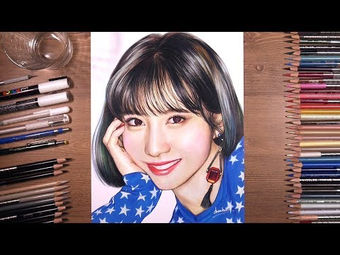 TWICE: Momo 모모 - colored pencil drawing   drawholic