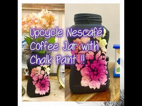 Upcycling ideas- Upcycle Nescafe Coffee Jar using Chalk Paint and Mixed Media, By Nargis Khan