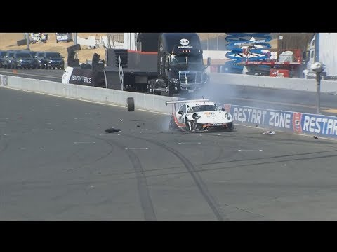 Porsche GT3 Cup Challenge USA 2017. Race 2 Sonoma Raceway. Anthony Imperato Hard Crash