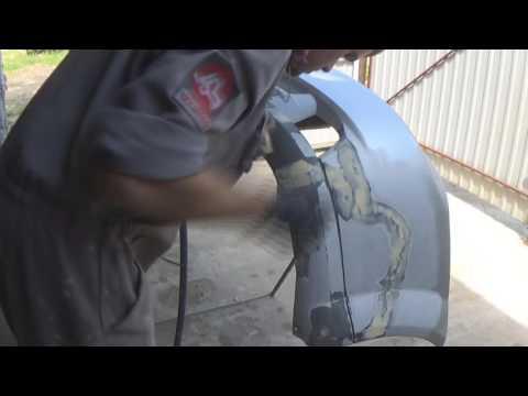 подготовка паянного бампера. покраска переходом
