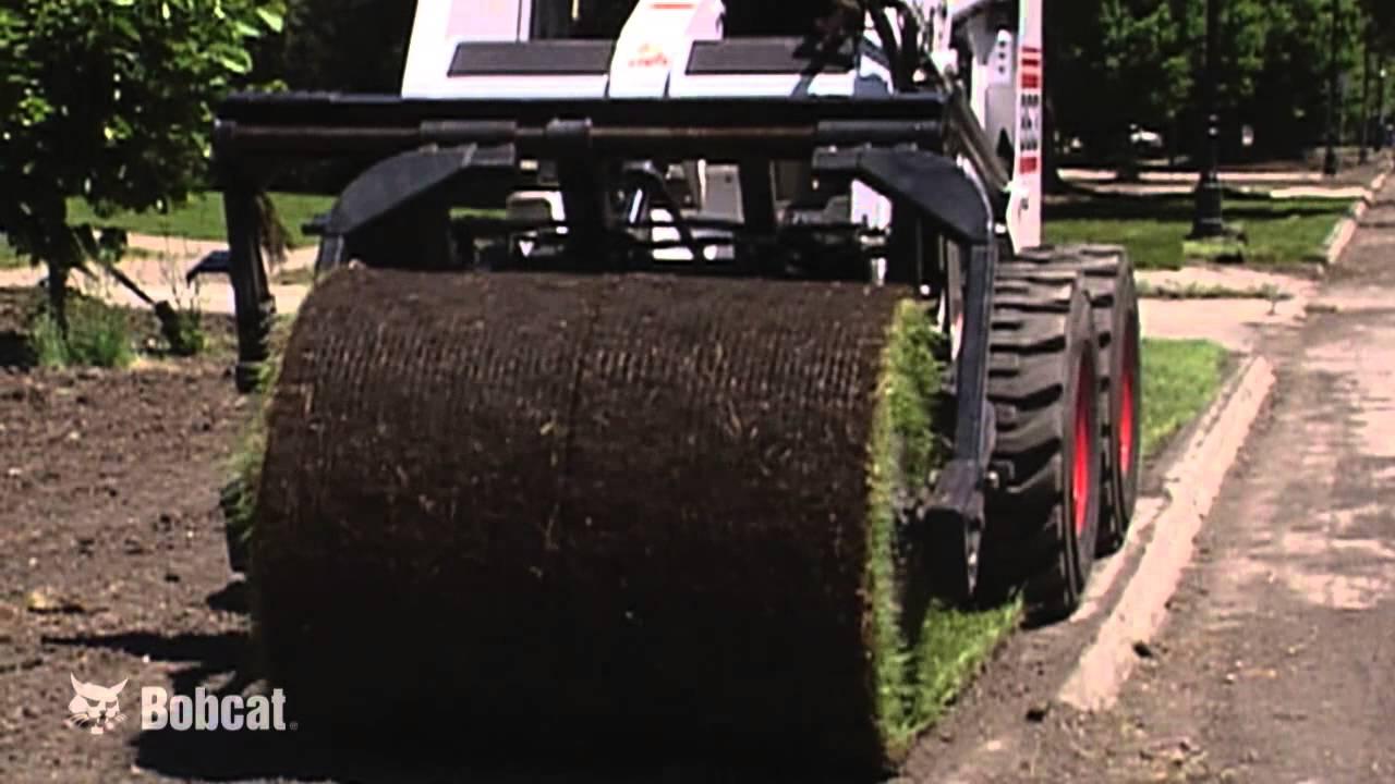 Sod Roller  Sod Layer Installer Video  Bobcat Loader
